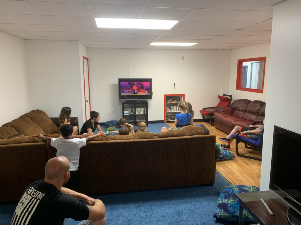 "An X-Box, Wii and a big screen TV makes this the perfect room to just ""chill out"".  But not to worry, we also have some very interactive games in here as well (Just Dance, Deal or No Deal, Karaoke, Family Feud and more)"